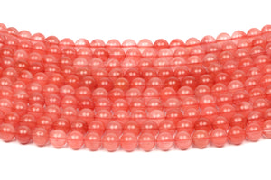 Round Cherry Quartz Beads Smooth Crystal Gemstone Loose Gem Jewelry Making Bulk