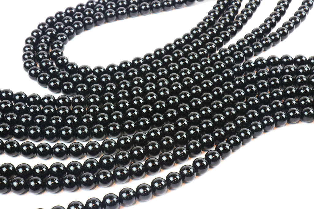 4mm Grade A Semiprecious Natural Black Onyx Gemstone Loose Smooth Round Beads