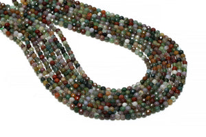 Fancy Jasper Beads Multi-colored 4mm Round Faceted Loose Gemstone Jewelry Supply