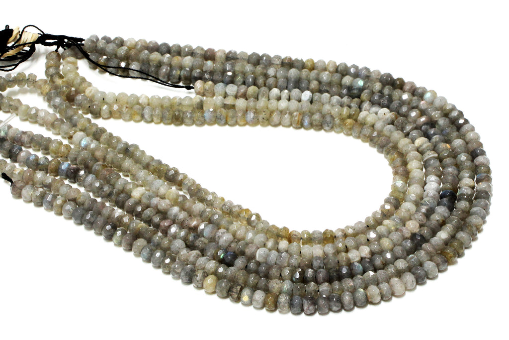 2x3mm Wholesale Natural Labradorite Loose Spacer Faceted Gemstone Rondelle Beads