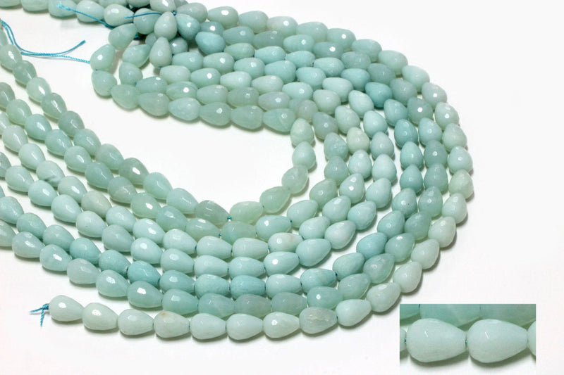 AA Quality Amazonite Tear Drop Faceted Beads Natural Blue Briolette Gemstones