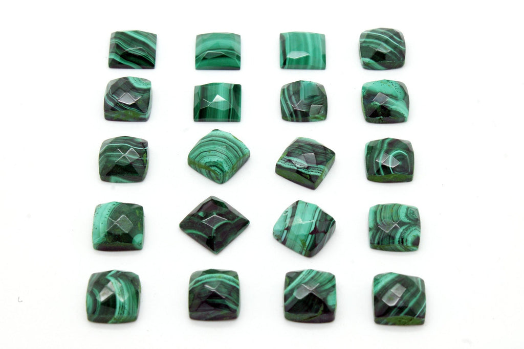 Natural Square Malachite Gemstone Faceted Cabochon Fine Loose Green Semiprecious