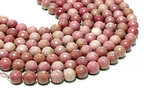 Rhodonite Beads Round Loose Faceted Natural Gemstone Craft Supplies DIY Jewelry