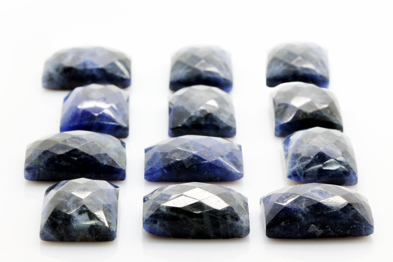 Natural AA Rectangle Sodalite Faceted Cabochon Gemstone Jewelry Making Wholesale