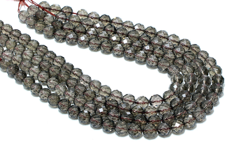 Genuine Natural AA Smoky Quartz Beads Faceted Wholesale Jewelry Making Gemstone