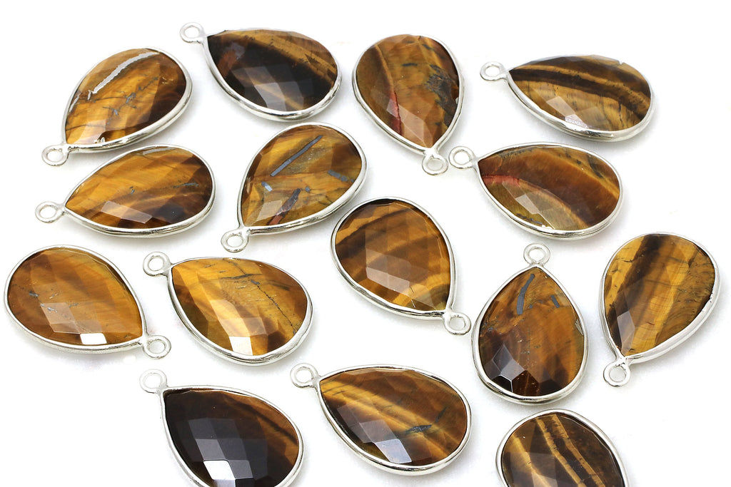 Tiger Eye Bezel Pendant Faceted Checker-cut Teardrop Gemstone Jewelry Findings
