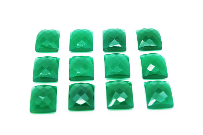 Natural Green Onyx Gemstone Rectangle Faceted Cabochon Loose Crystal Wholesale