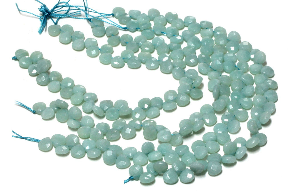 Semi Precious Natural Amazonite Flat Drop Loose Gemstone Jewelry Making Beads