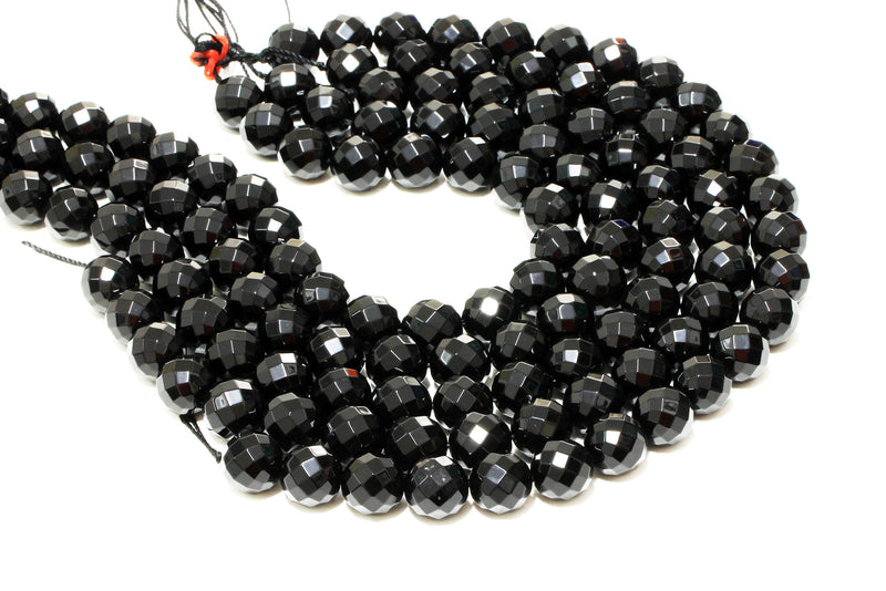 Natural Black Onyx Gemstones Loose Gem Round Beads 16