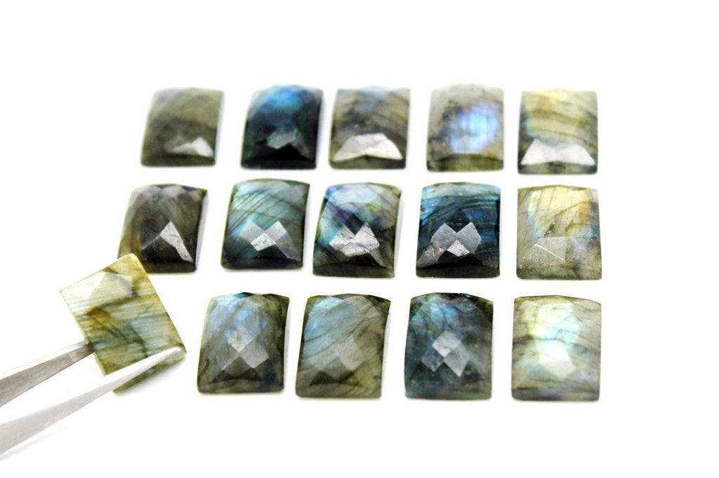 13x18mm Rectangle Natural Labradorite Faceted Cabochon Loose Gemstone Wholesale