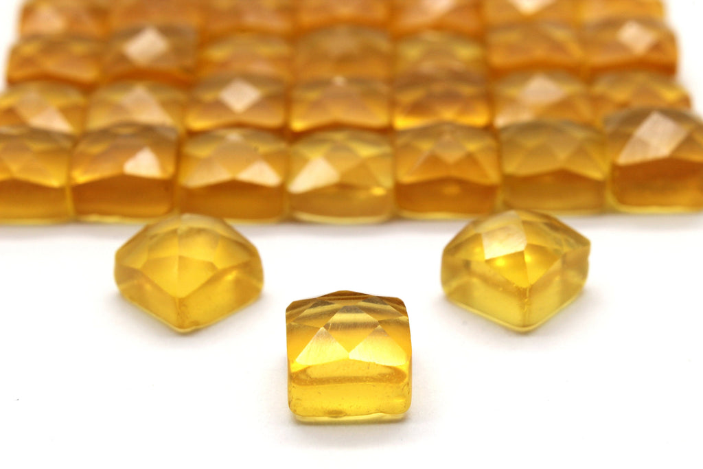 AA Quality Natural Square Citrine Cabochon Faceted Crystal Quartz Bulk Sale Cab