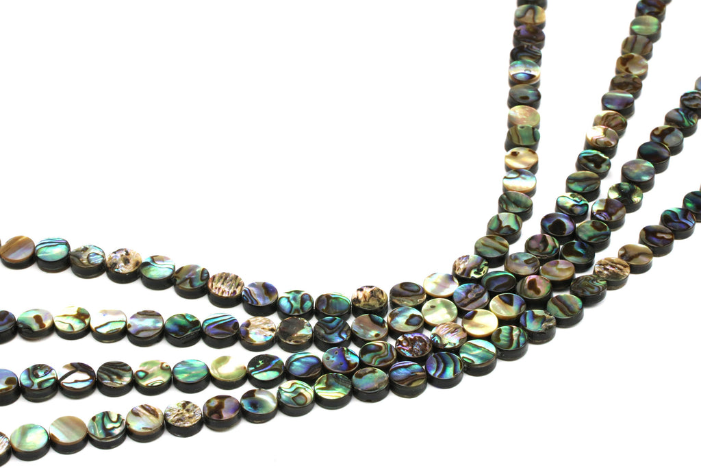 Natural Abalone Shell Coin Shape Smooth Flat Gemstone Beads Multicolor Wholesale