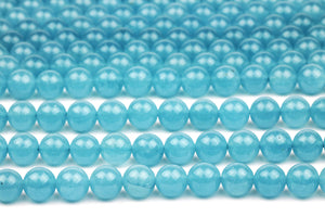 Aqua Quartz Crystal Beads Smooth Round 8mm Loose Gemstone Jewelry Making Supply