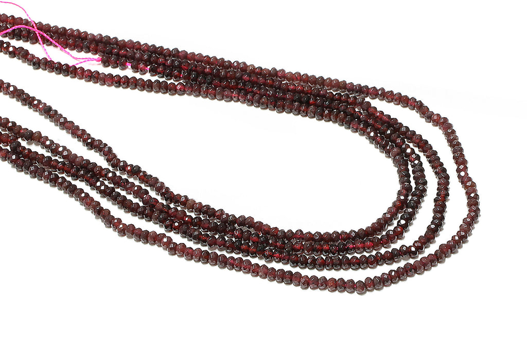 Garnet Gemstone Beads Natural Faceted 2x4mm Rondelle January Birthstone Bulk Gem