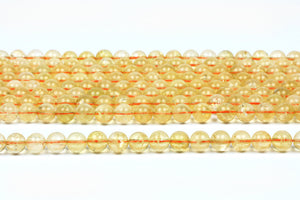 6mm Citrine Gemstone Beads Round Smooth Jewelry Supplies November Birthstone