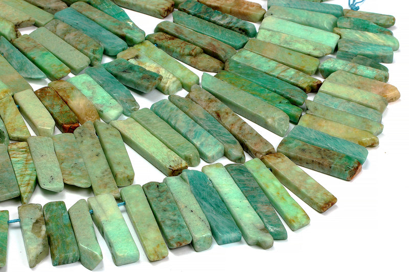 Natural Amazonite Gemstone Long Slices Rectangle Beads Irregular Chip Stone Gem