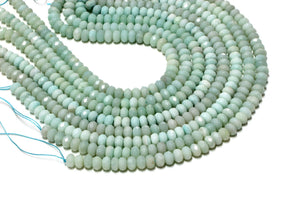 Amazonite Natural Semi Precious Faceted Rondelle Gemstone Beads Jewelry Making