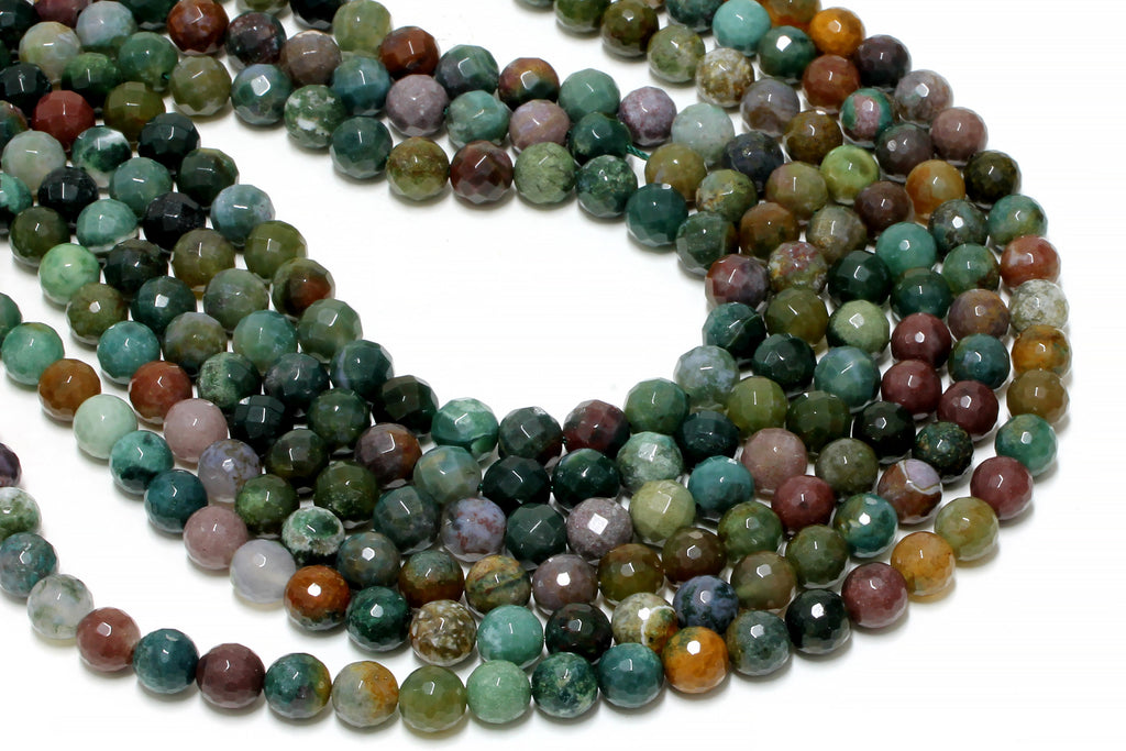 Natural Fancy Jasper Beads Large 10mm Loose Round Faceted Gemstone Wholesale DIY