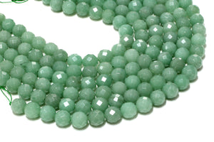 "Natural Stone Faceted Green Aventurine Beads For Jewelry Making 16"" Wholesale"