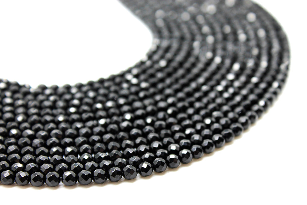 Natural Black Onyx Beads Faceted Gemstone Round Loose Jewelry Making Bulk Sale