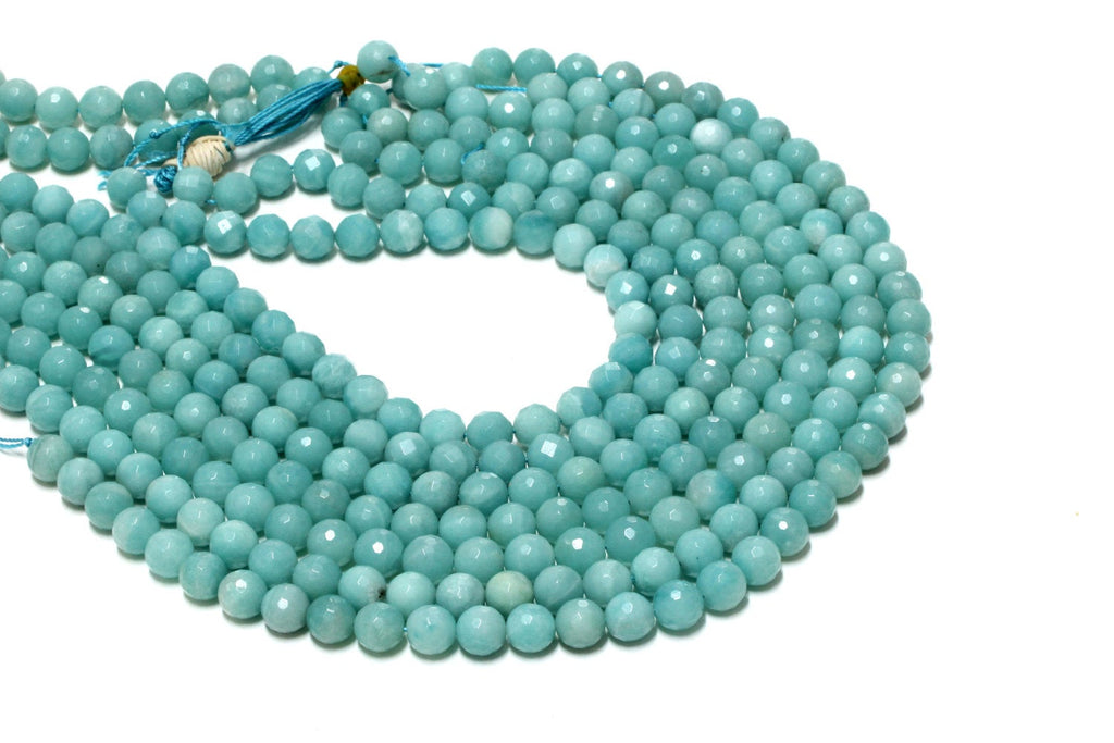 Blue Round Amazonite Gemstone Loose Faceted Strand Beads 4mm 6mm 8mm 10mm 12mm
