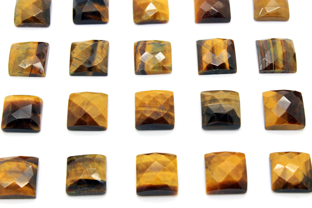Tiger Eye Gemstone Faceted Natural Loose Square Cabochon Jewelry Making Supply
