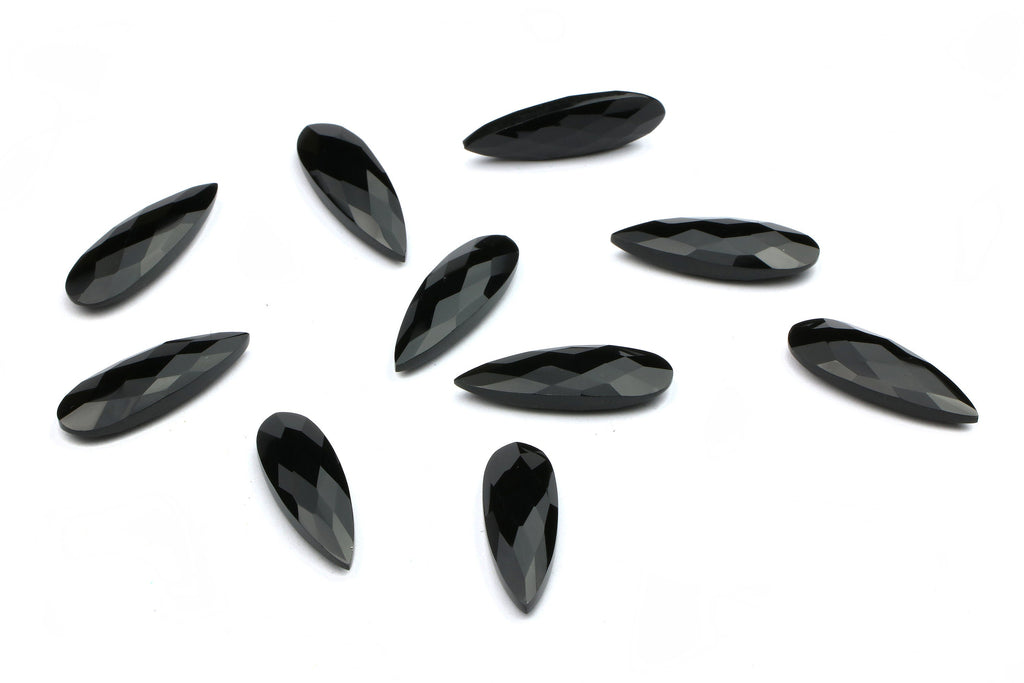 Long Black Onyx Gemstone Faceted Briolette Loose Wholesale Jewelry Making Supply