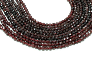 4mm Natural Round Red Garnet Beads Loose Faceted Semiprecious Gemstone Wholesale