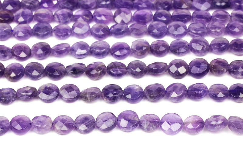 Amethyst 8mm Coin Beads Jewelry Making Stone Natural Loose 16