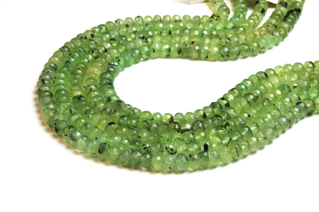 Prehnite Rondelle Beads 5x8mm Loose Faceted Round Gemstone Wholesale DIY Supply