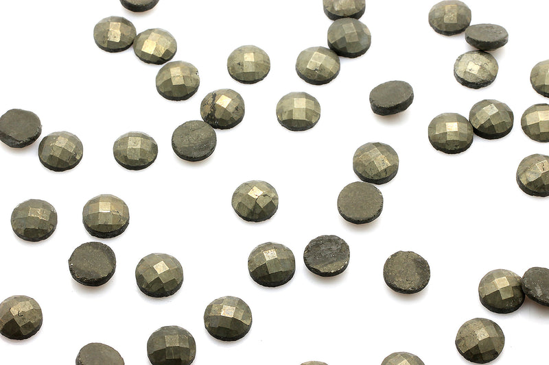 4mm Natural Pyrite Cabochon Faceted Gemstone Semiprecious Round Wholesale Stone