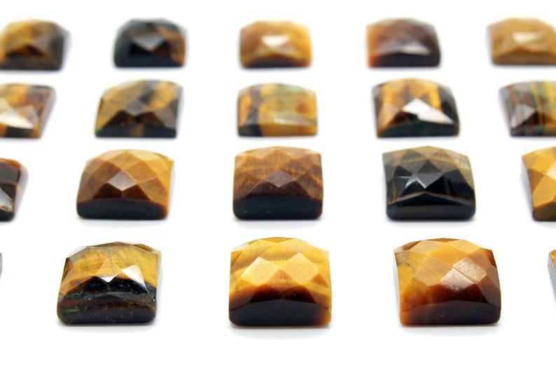 Square Tiger Eye Gemstone Loose Faceted Natural Cabochon Jewelry Material Supply