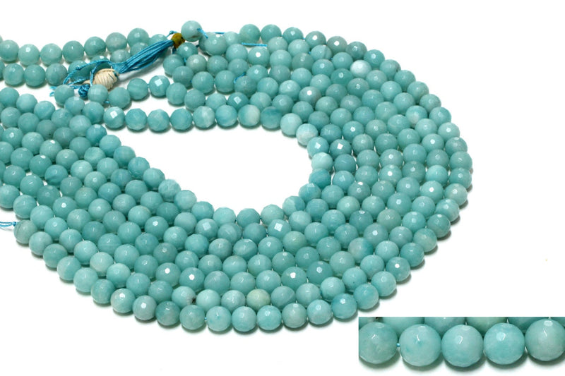 Round Natural Semi Precious Amazonite Gemstone Beads Knotted Beaded Necklace 16