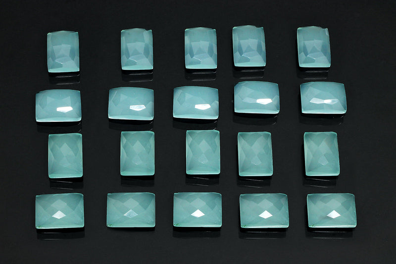 Natural Aqua Chalcedony Gemstone Faceted AA Loose Cabochon DIY Jewelry Wholesale
