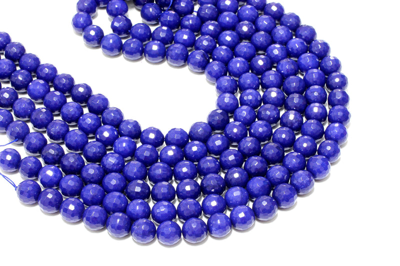 Natural Large Blue AA Jade Beads Faceted Loose Spacer Gemstone Beading Supply