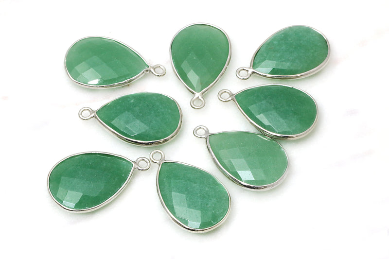 Green Aventurine Bezel Pendant Faceted Gemstone Jewelry Supplies DIY Materials