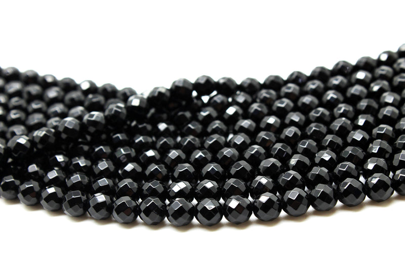 Black Onyx Beads Gemstone Round Natural 6mm Loose Faceted DIY Jewelry Making Gem
