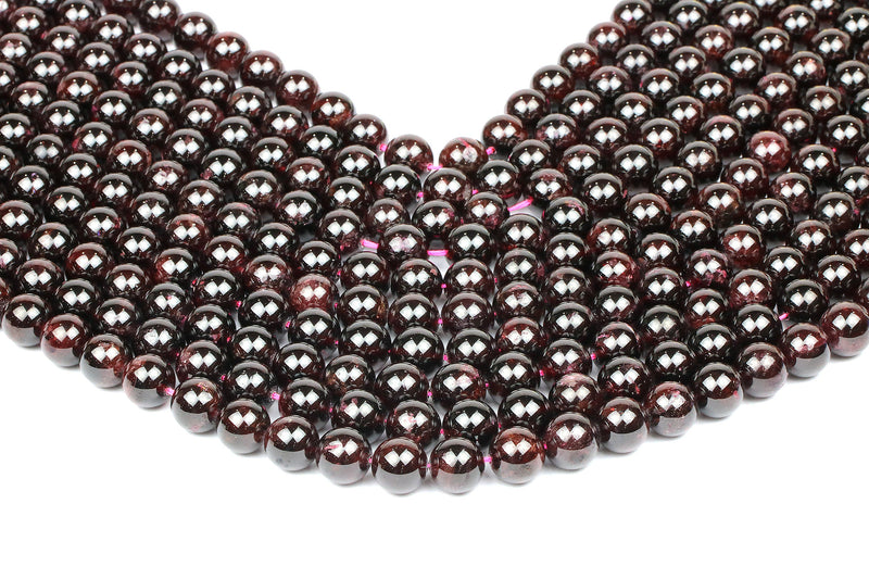 Round Garnet Gemstone Beads Smooth Natural 16