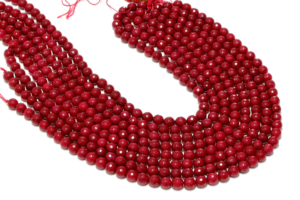 "6mm Red Jade Beads Round Faceted Loose Gemstone Jewelry Making Supply 16"" Strand"