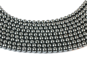 Natural Hematite Gemstone Beads 6mm Round Smooth Loose Spacer DIY Jewelry Making