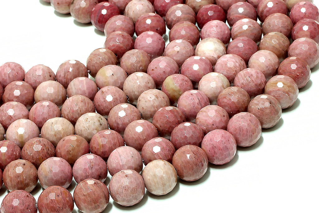 12mm Rhodonite Beads Round Loose Semiprecious Gemstone Jewelry Making Supplies