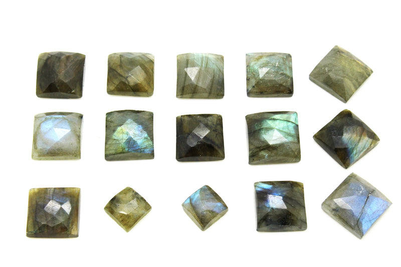 Wholesale 8x8mm Square Natural AA Labradorite Loose Faceted Cabochon Gemstone