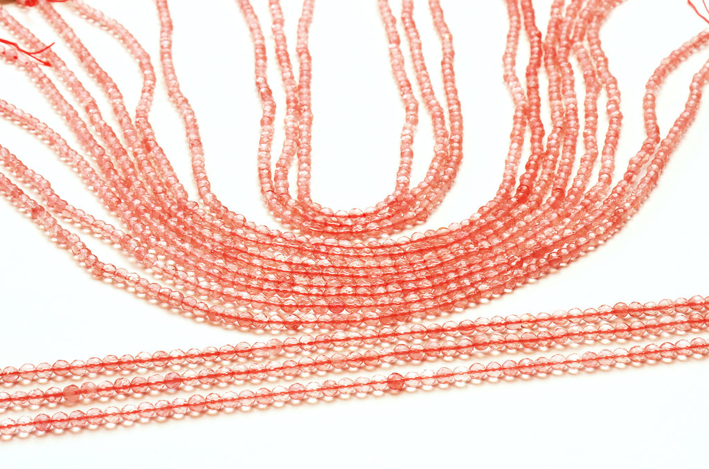 3mm Natural Cherry Quartz Beads Round Faceted Loose Spacer Gemstone DIY Jewelry