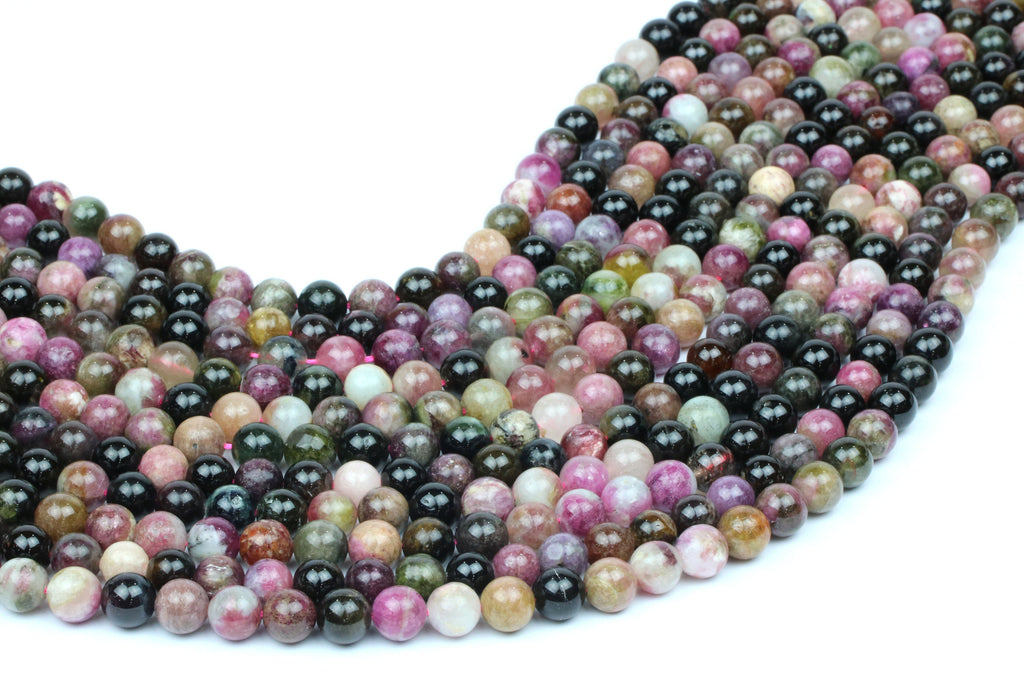 Natural Tourmaline Gemstone Beads Round Loose Spacer 8mm Multi-color Wholesale