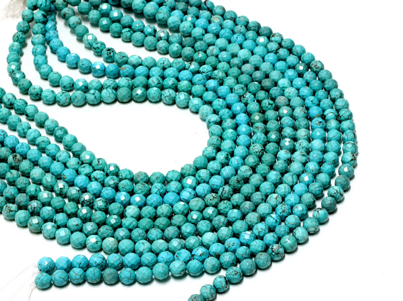 Natural Round Magnesite Turquoise 6mm Faceted Loose Beads Gemstone DIY Jewelry