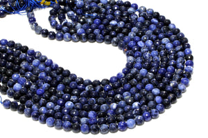 Sodalite Faceted Round Beads Natural Loose Gemstone Bulk Sale Jewelry Supplies