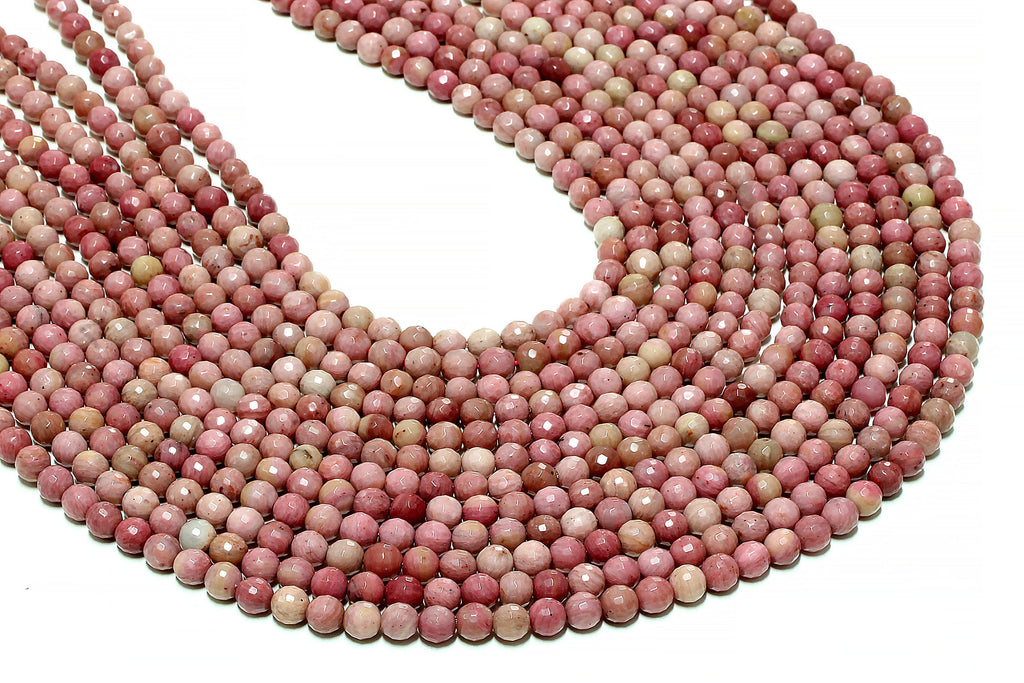 Natural 6mm Rhodonite Beads Faceted Round Loose Gemstone DIY Jewelry Wholesale