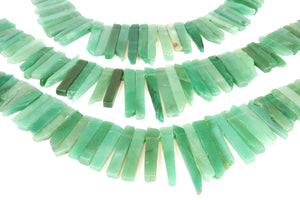 Natural Aventurine Gemstone Long Slices Side Drilled Bead Rectangle Chip Stone