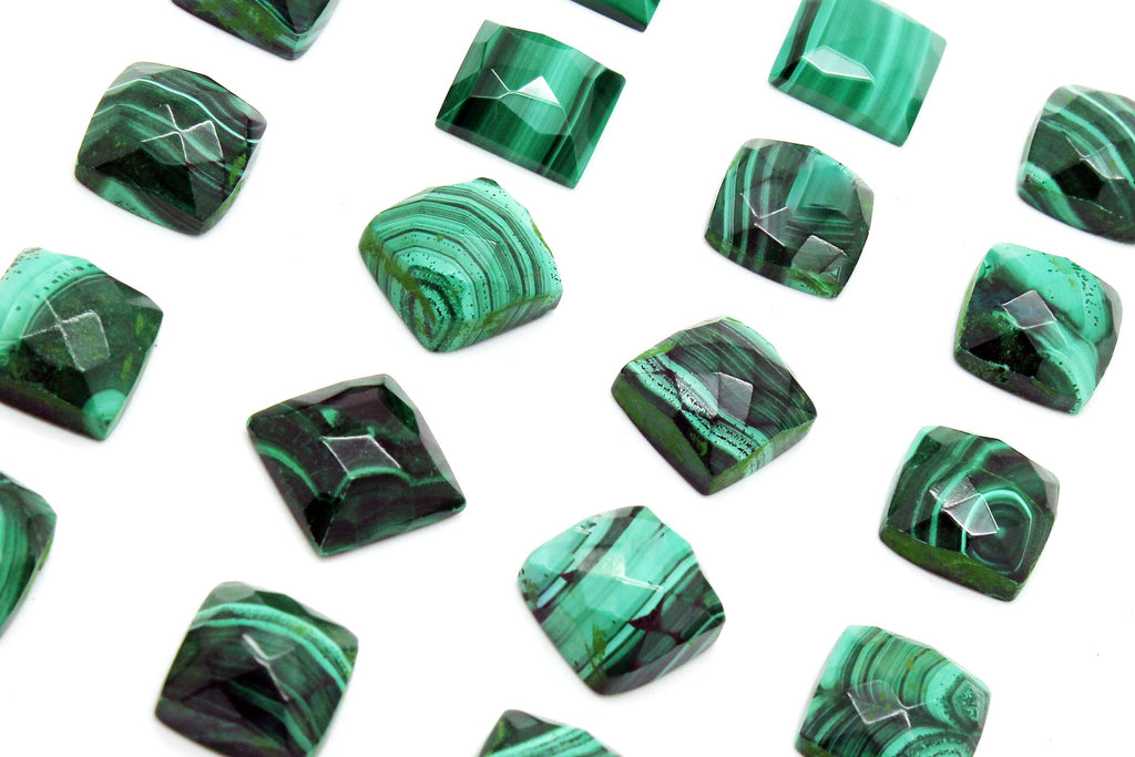 Square AA Malachite Cabochon Gemstone Natural Green Loose Wholesale Bulk Stone