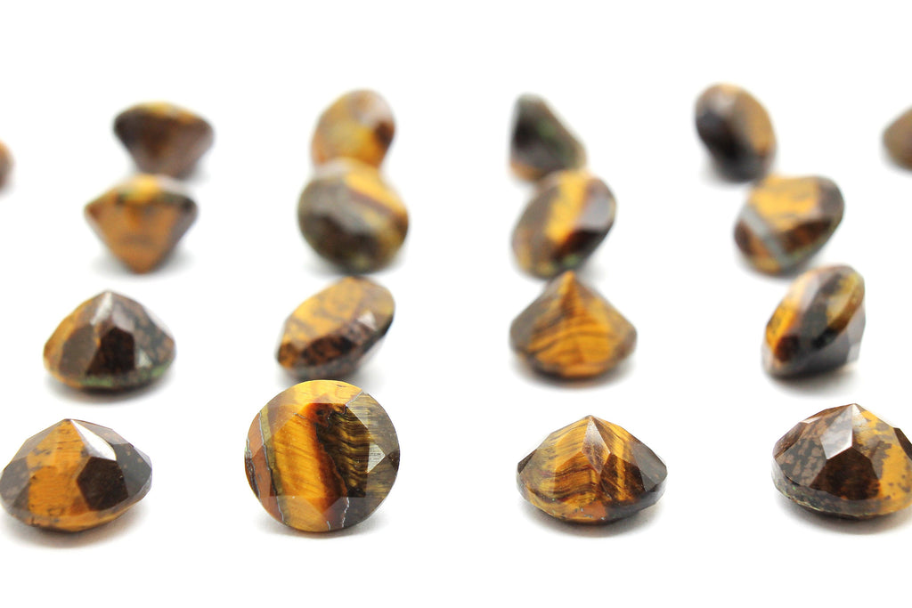 Natural Tiger Eye Gemstone Faceted Diamond Cut Semiprecious Stone Jewelry Making